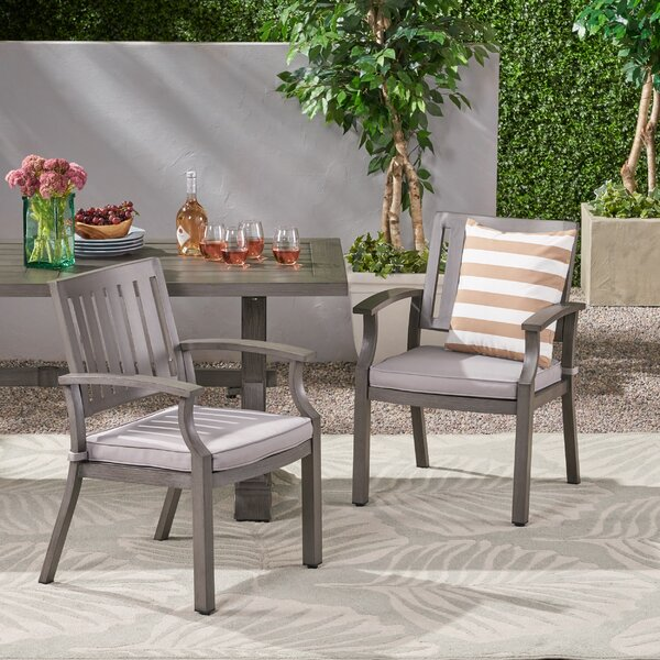 Wayzata Outdoor Modern Patio Dining Chair With Cushion (Set Of 2) By Charlton Home