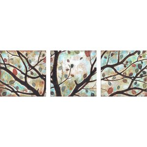Rustling Leaves Triptych by Studio 212 3 Piece Painting Print on Canvas Set by Andover Mills