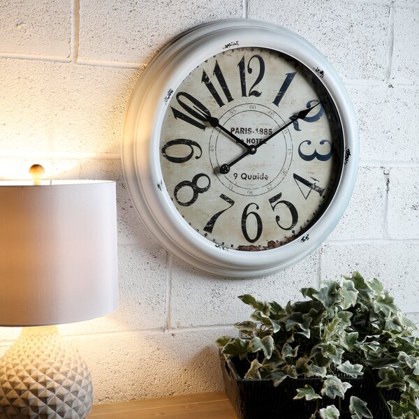 Oversized Midwest Metal Parisian 24 Wall Clock by Ophelia & Co.