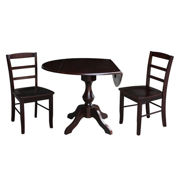 Ashwood Round 3 Piece Drop Leaf Solid Wood Dining Set by Alcott Hill