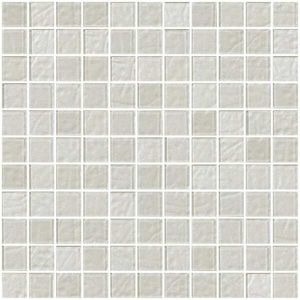 1 x 1 Glass Mosaic Tile in Metallic White Silver by Susan Jablon