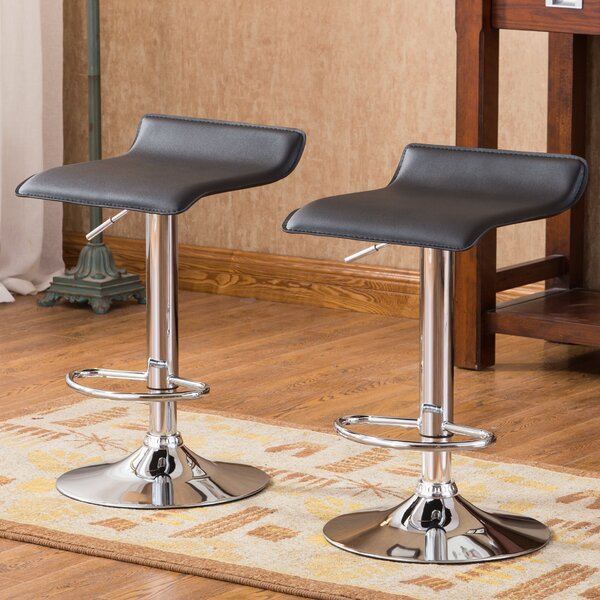 Mathison Adjustable Height Swivel Bar Stool (Set of 2) by Wade Logan