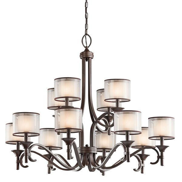 Lightle 12-Light Shaded Tiered Chandelier by Darby Home Co Darby Home Co