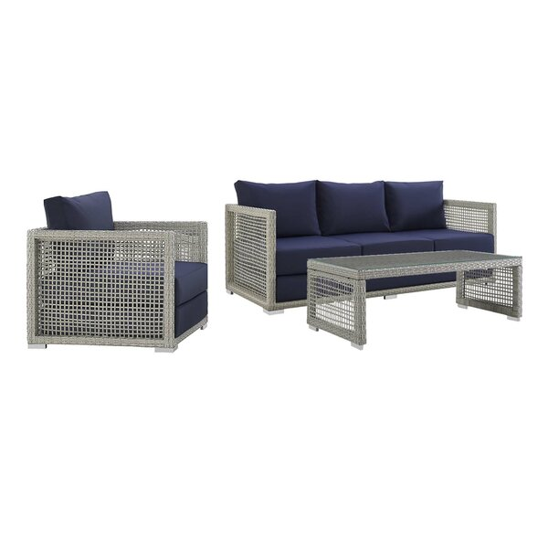 Cassiopeia 3 Piece Rattan Sofa Seating Group by Highland Dunes Highland Dunes