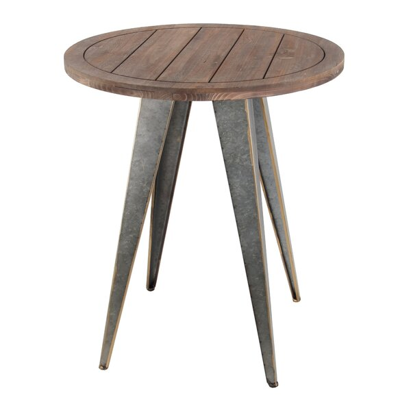 Pompey Wood Iron End Table by Gracie Oaks