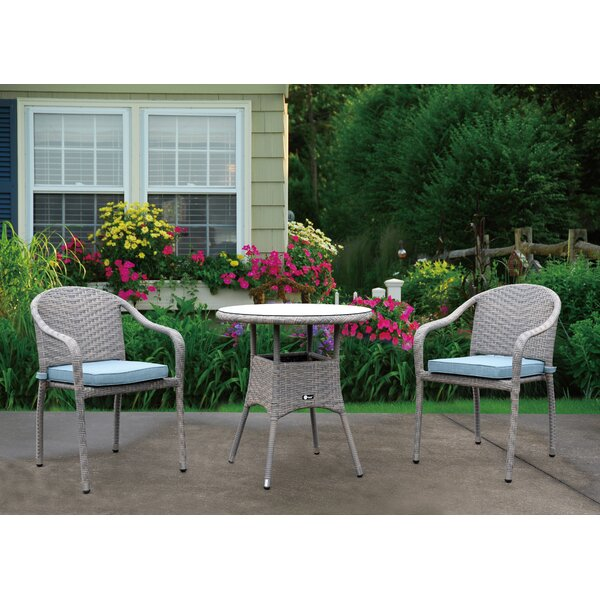Bob 3 Piece Bistro Set with Cushions by Ophelia & Co.