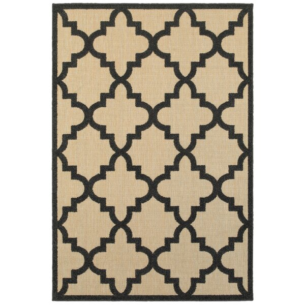 Bellwood Sand/Charcoal Outdoor Area Rug by Beachcrest Home