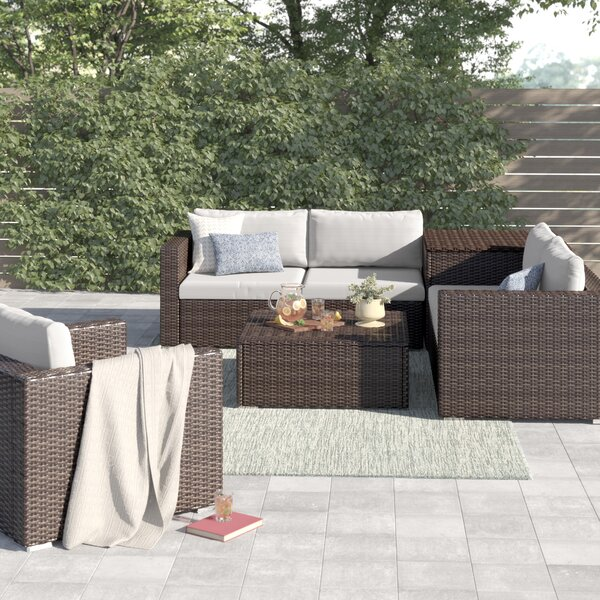 Coast 7 Piece Rattan Sectional Seating Group with Cushions by Sol 72 Outdoor
