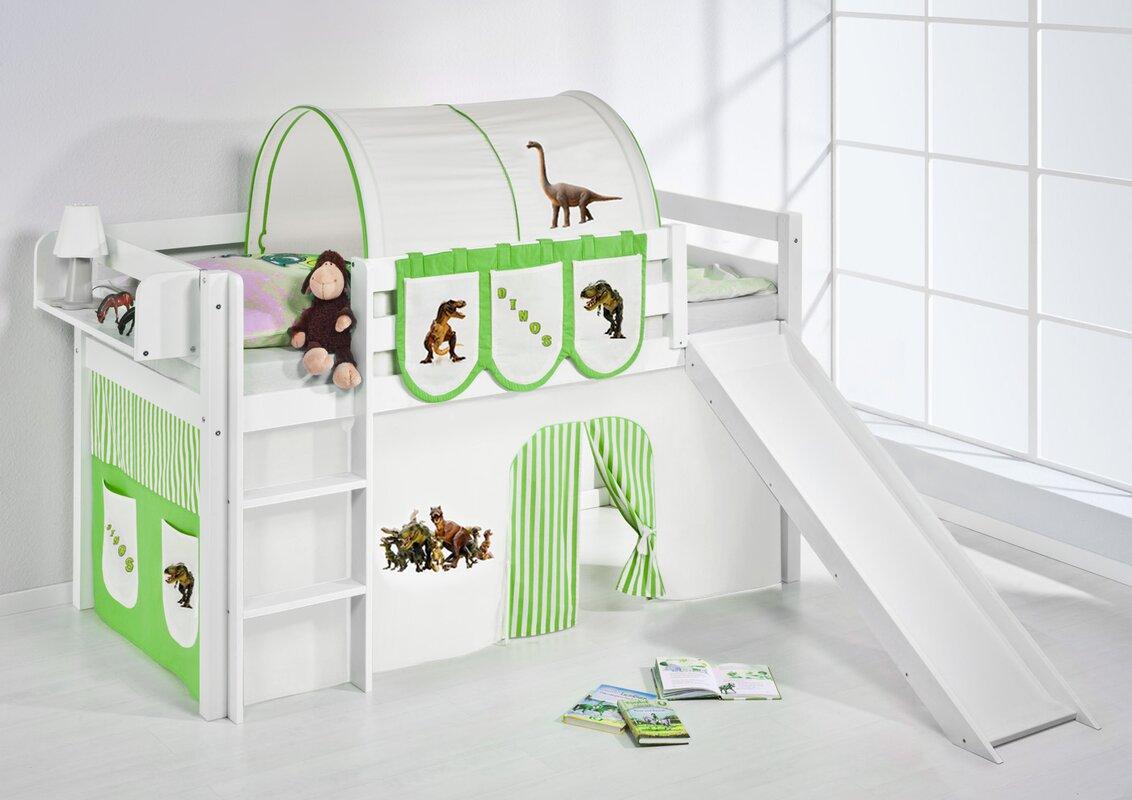 lilokids hochbett dinos mit rutsche und vorhang bewertungen. Black Bedroom Furniture Sets. Home Design Ideas
