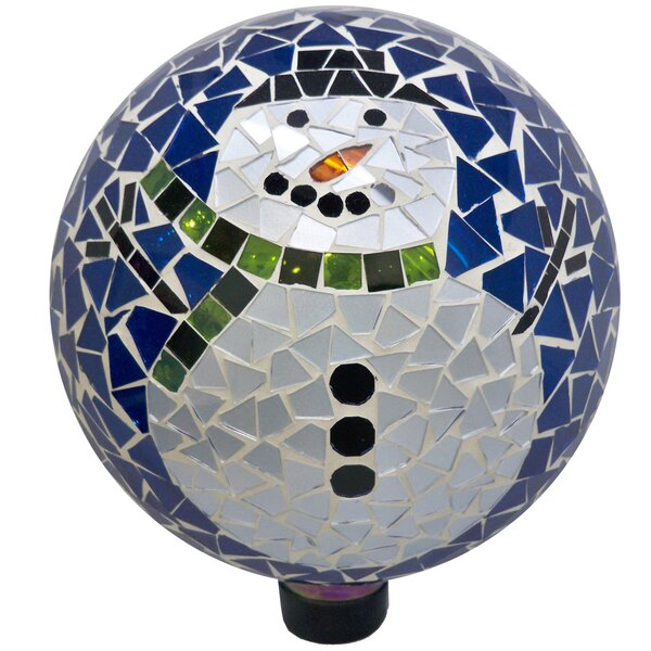 Mosaic Snowman Glass Gazing Globe by VCS
