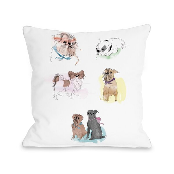 Puppies Sketches Throw Pillow by One Bella Casa