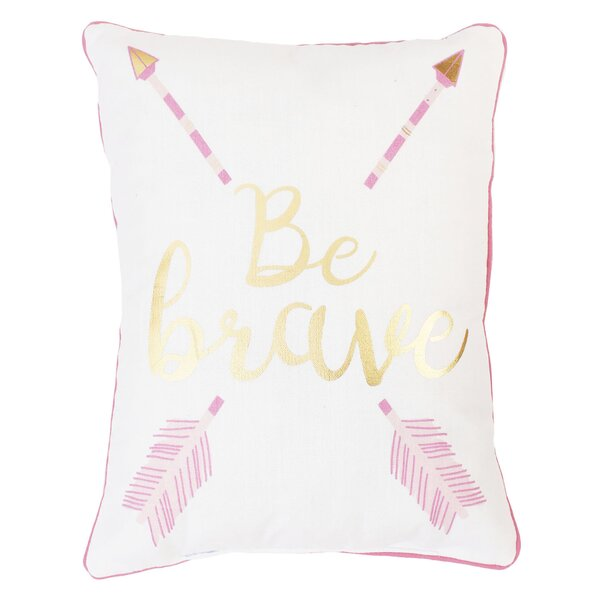 Una Be Brave and Kind Reversible Printed Lumbar Pillow by Mistana