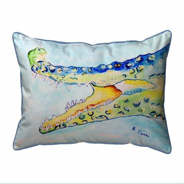 Bates Crocodile and Frog Indoor/Outdoor Lumbar Pillow