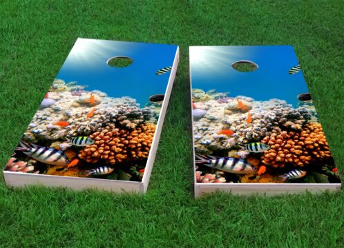 Coral Fish Cornhole Game (Set of 2) by Custom Cornhole Boards
