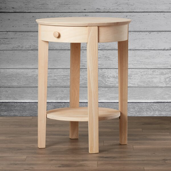 Lynn Solid Wood 4 Legs 1 Drawer End Table By Mistana