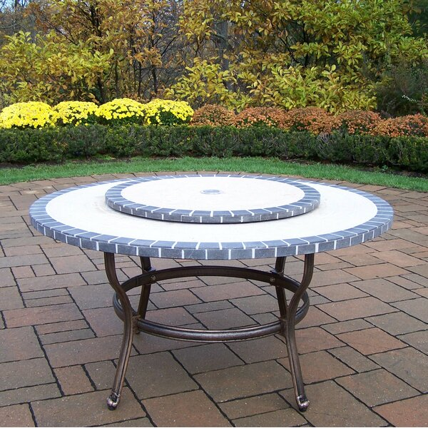 Stone Art Coffee Table with Lazy Susan by Oakland Living