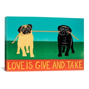 Love Is Give and Take Black by Stephen Huneck Painting Print on Wrapped Canvas by iCanvas