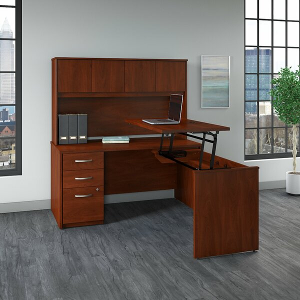 Astonishing Series C Elite Height Adjustable L Shaped Standing Desk With Hutch By Bush Business Furniture Andrewgaddart Wooden Chair Designs For Living Room Andrewgaddartcom