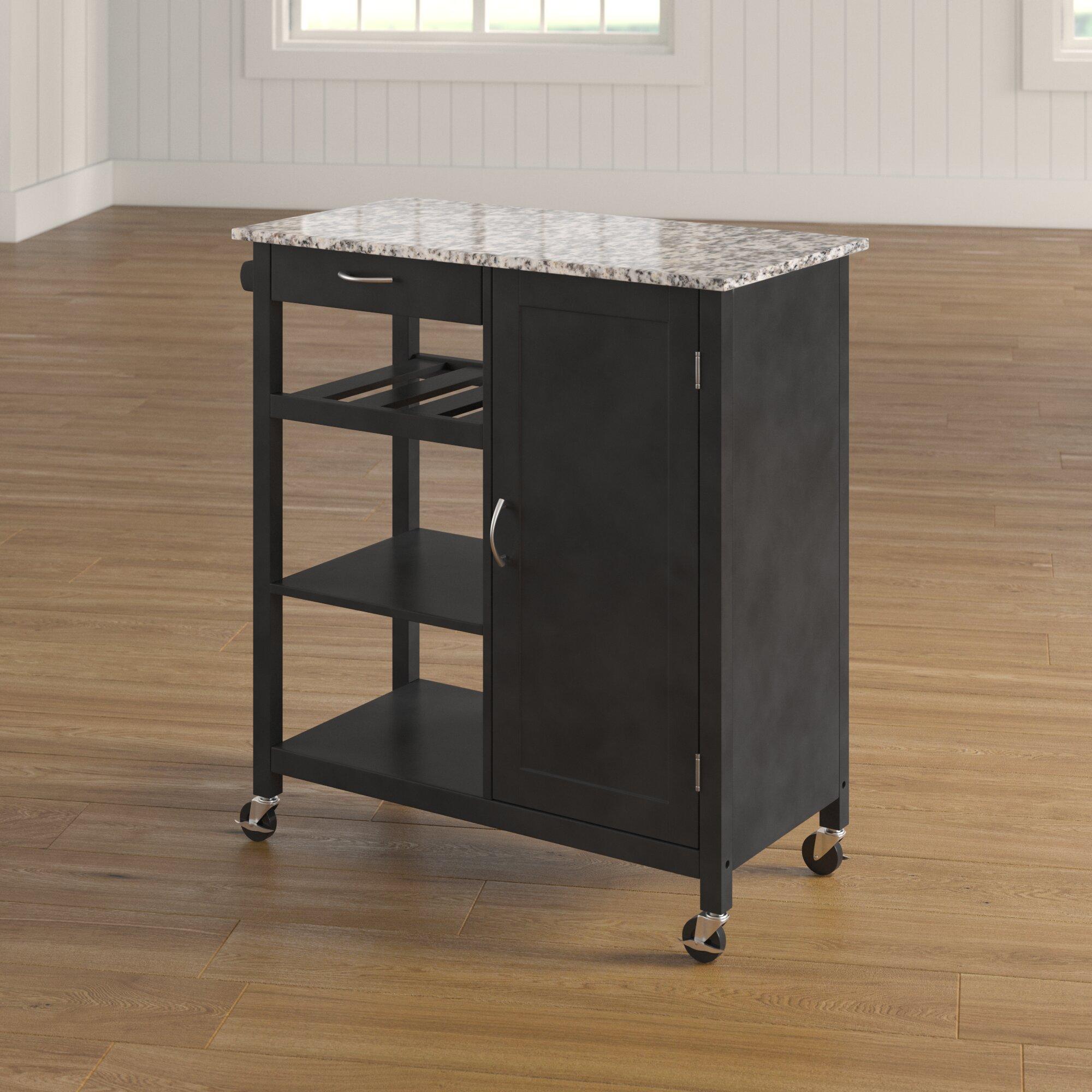 Red Barrel Studio Auden Kitchen Cart With Faux Marble Top Reviews Wayfair