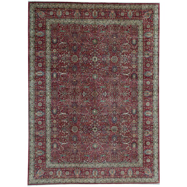 One-of-a-Kind Hand-Knotted Red 9'11 x 13'10 Wool Area Rug