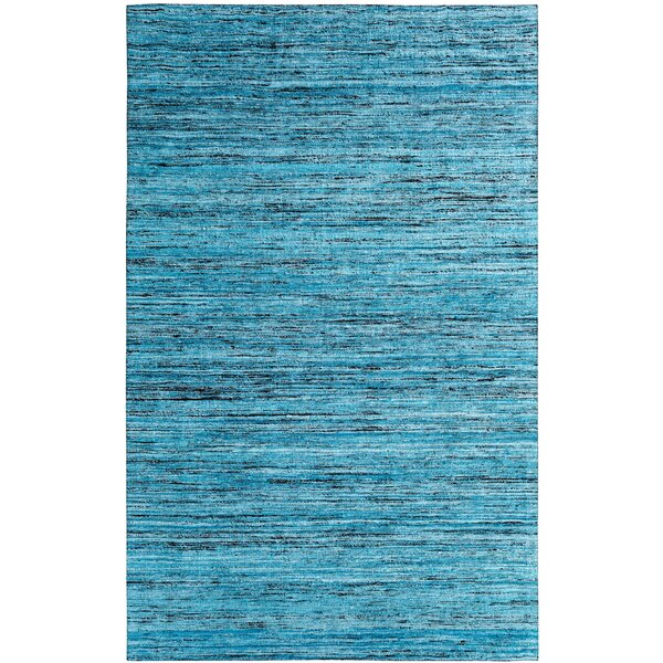 One-of-a-Kind Beach Hand-Woven Teal Area Rug by Ebern Designs
