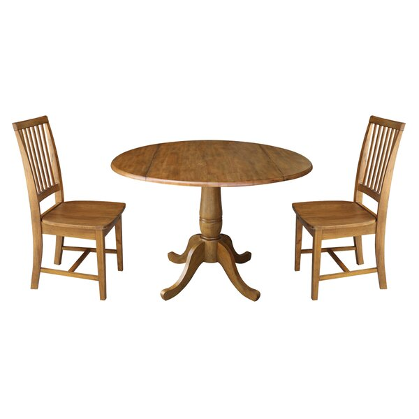Montville Round Top Pedestal Extending 3 Piece Drop Leaf Solid Wood Dining Set by August Grove
