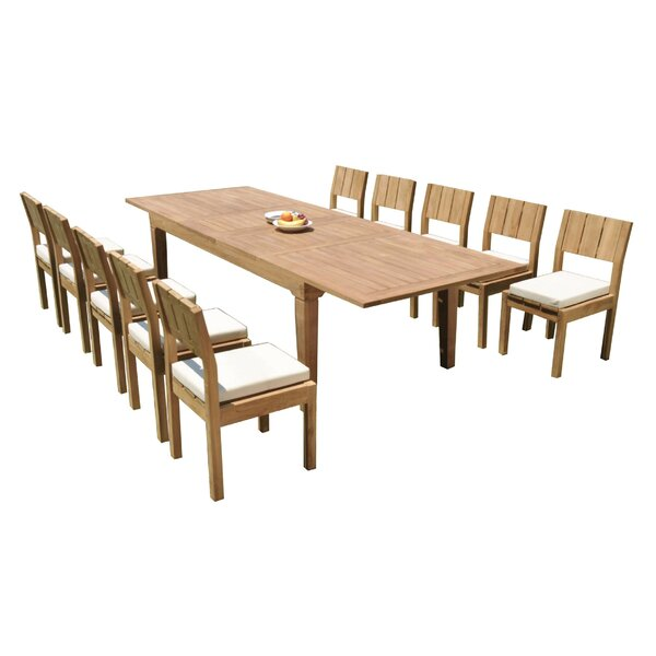 Keven 11 Piece Teak Dining Set by Rosecliff Heights