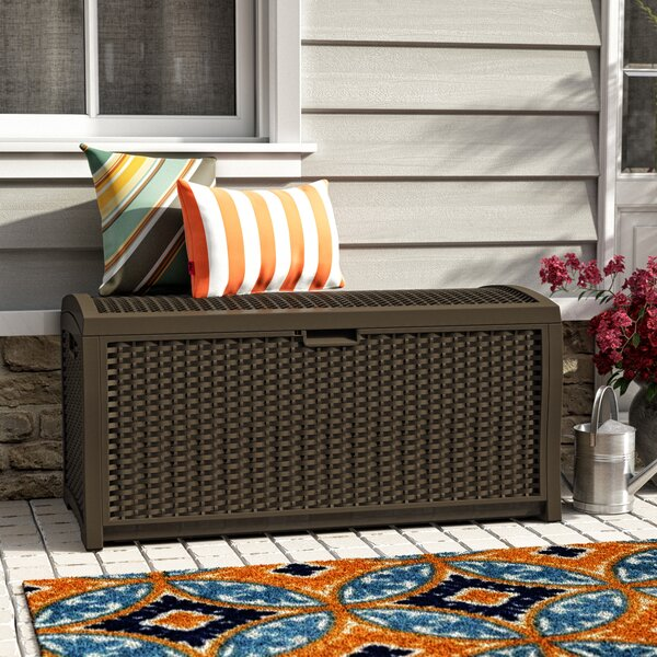 73 Gallon Resin Wicker Deck Box by Suncast Suncast