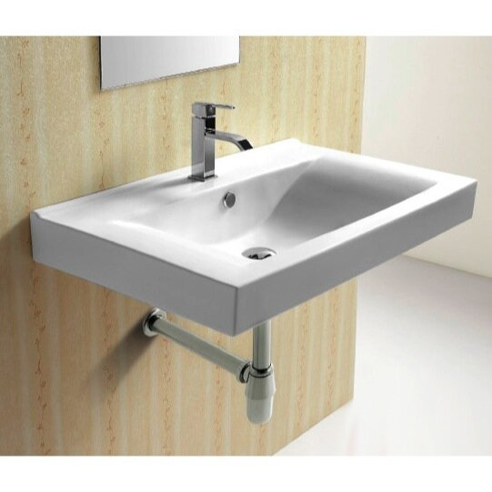 Ceramic 33 Wall Mount Bathroom Sink with Overflow by Caracalla