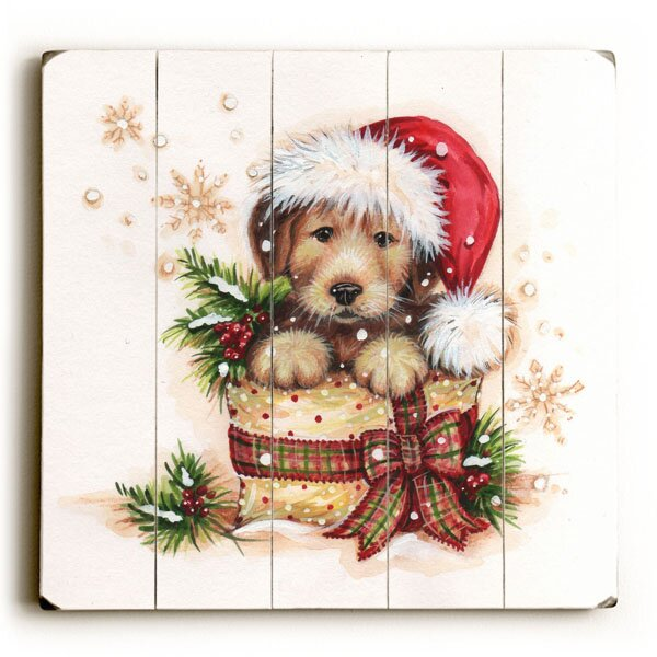 Puppy Present Graphic Art Plaque by Red Barrel Studio