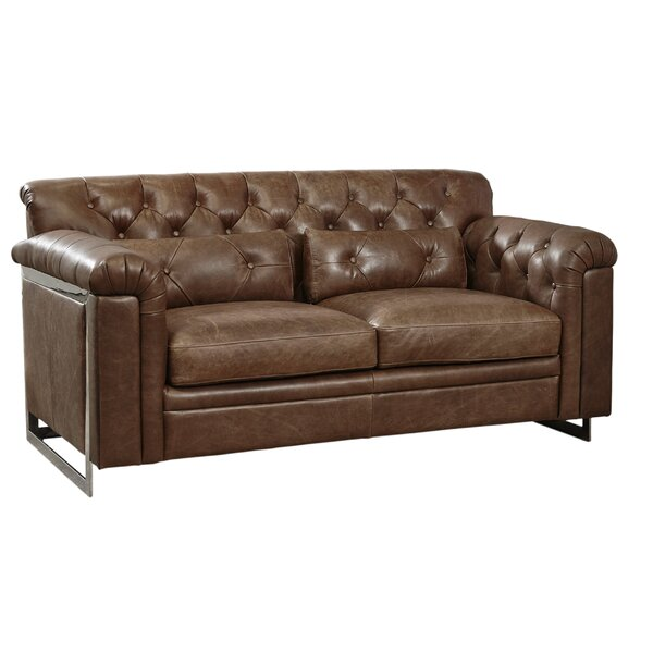 Ilario Tufted Leather Loveseat by 17 Stories