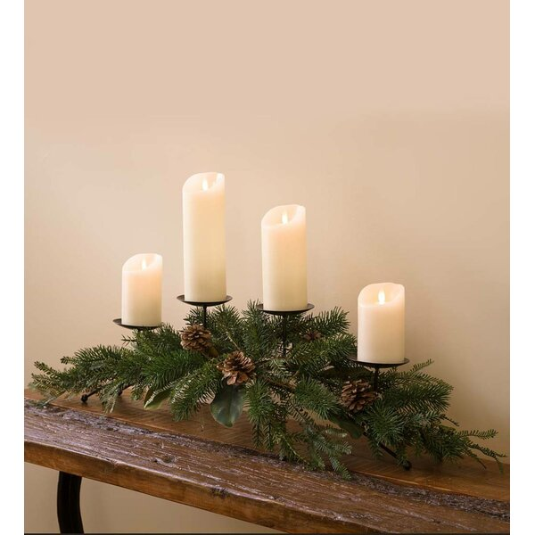 Holiday Mixed Faux Greenery Centerpiece Metal Candelabra by Plow & Hearth