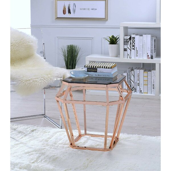 Leandra Octagon Shaped Glass End Table by Everly Quinn