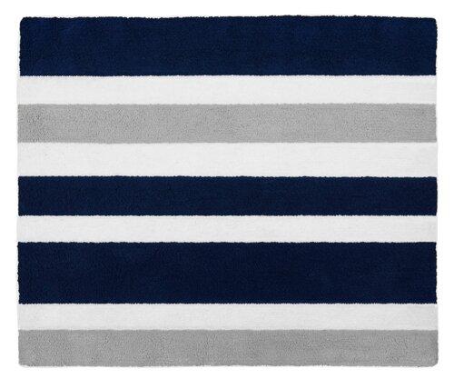 Stripe Hand-Tufted Navy Blue / Gray Area Rug by Sweet Jojo Designs