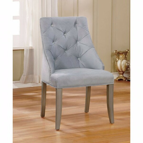 Willow Creek Tuffed Flannelette Upholstered Solid Back Side Chair In Blue (Set Of 2) By Red Barrel Studio