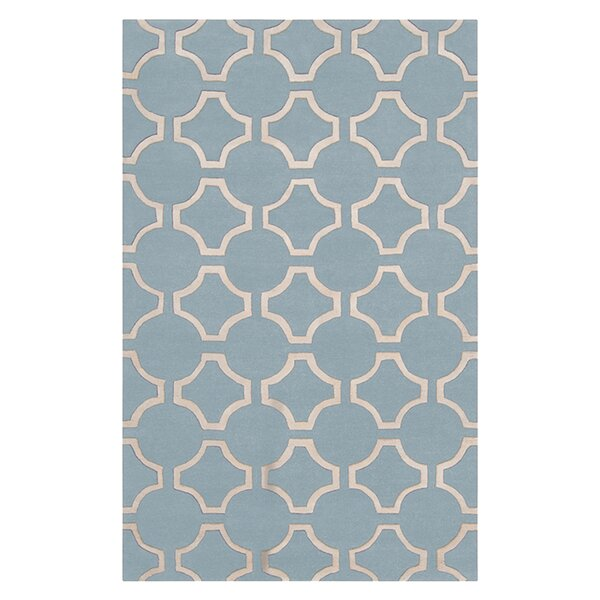 Droitwich Geometric Hand Tufted Wool Sky Blue Area Rug by Mercer41