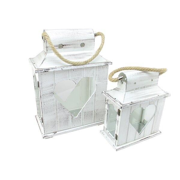 2 Piece Wood/Glass Lantern Set by Northlight Seasonal