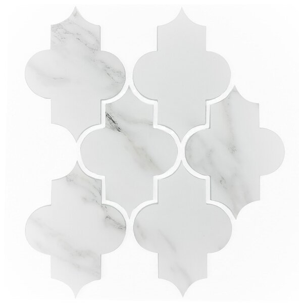 Nature Small Latern 5.5 x 4 Glass Mosaic Tile in White/Gold Veins by Abolos