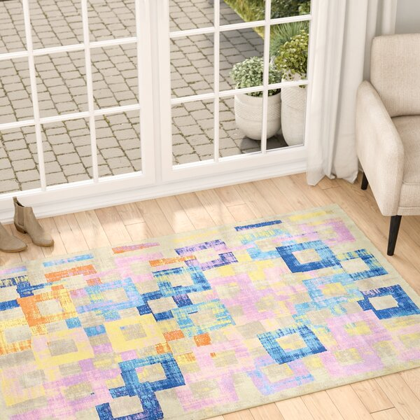 Demers Beige/Blue/Orange Area Rug by Ebern Designs