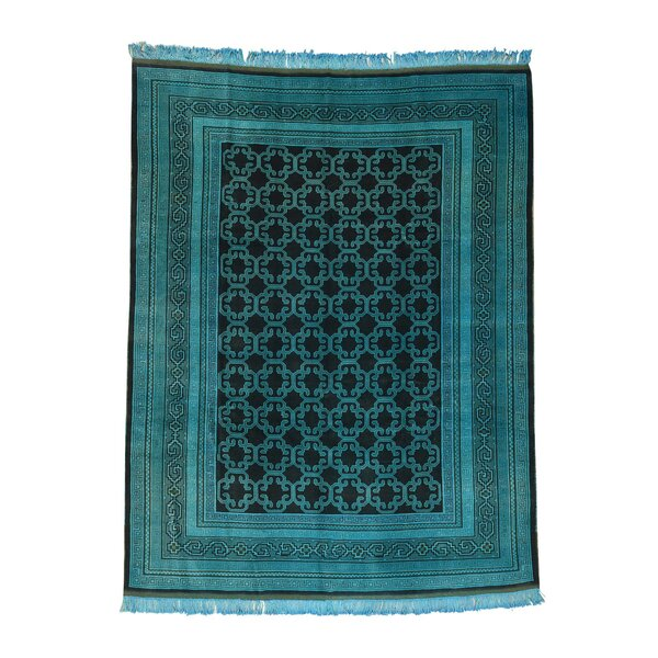One-of-a-Kind Fogg Khotan Overdyed Persian Vintage Oriental Hand-Knotted Teal Area Rug by World Menagerie