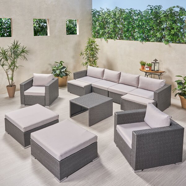 Guccione Outdoor U Shaped 11 Piece Sectional Seating Group with Cushions by Orren Ellis