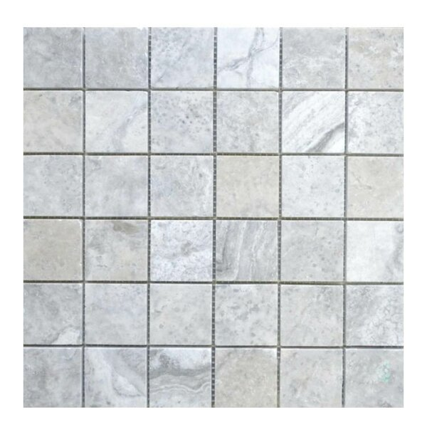Honed 2 x 2 Natural Stone Mosaic Tile in Silver by QDI Surfaces