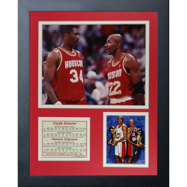 Hakeem Olajuwon & Clyde Drexler Framed Memorabilia by Legends Never Die