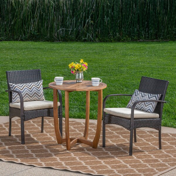 Villareal Outdoor 3 Piece Bistro Set with Cushions by Ebern Designs