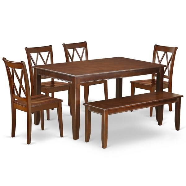 Kurth 6 Piece Solid Wood Dining Set by August Grove