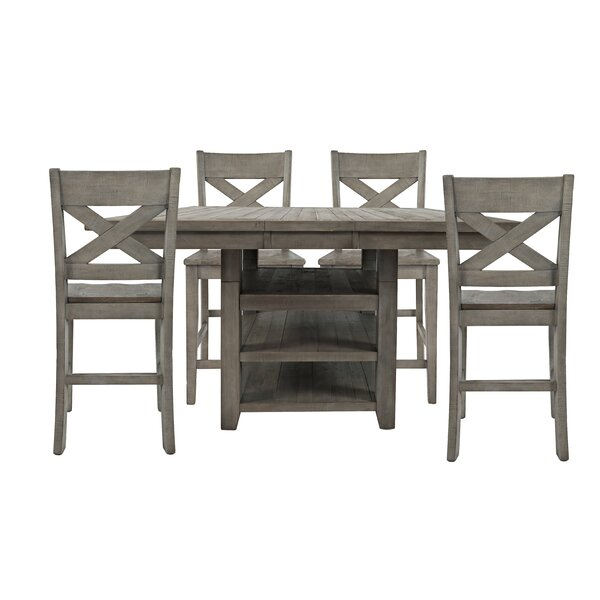 Mcilwain 5 Piece Reclaimed Pine Counter Height Dining Set by Gracie Oaks Gracie Oaks