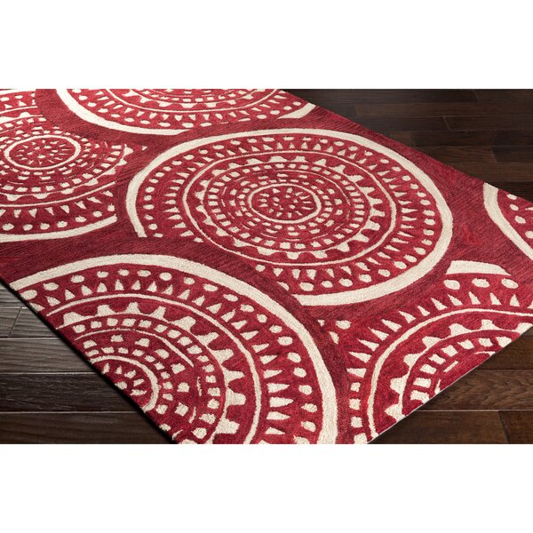 Elda Hand-Tufted Red Area Rug by Bungalow Rose
