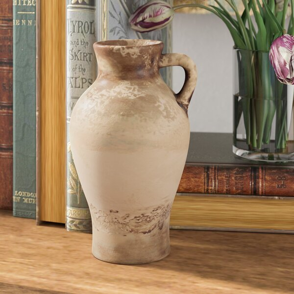 Small Weathered Ceramic Table Vase with Handle by Fleur De Lis Living