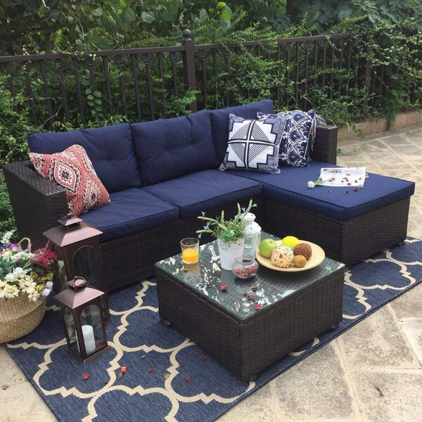 Steward Outdoor 3 Piece Rattan Sectional Seating Group With Cushions By Wrought Studio™