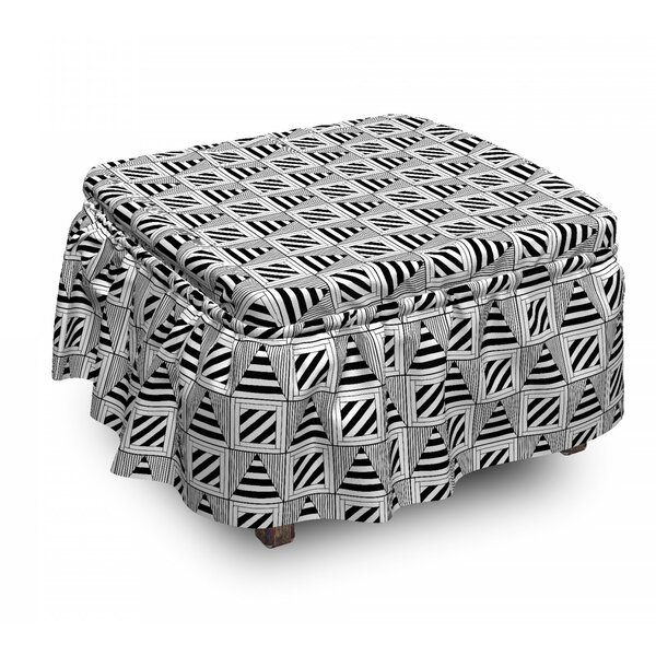 Triangular Lines Ottoman Slipcover (Set Of 2) By East Urban Home